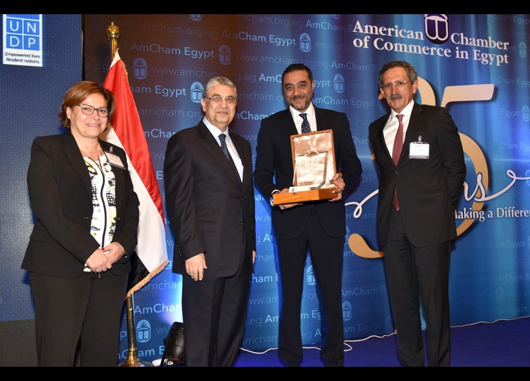 وزارة الكهرباء والطاقة وبرنامج الأمم المتحدة الإنمائي وغرفة التجارة الأمريكية يكرمون فودافون مصر