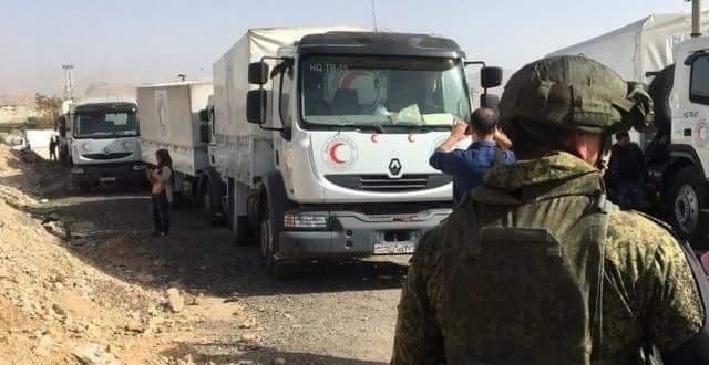 المساعدات الانسانية دخلت الغوطة الشرقية رغم الغارات الجوية