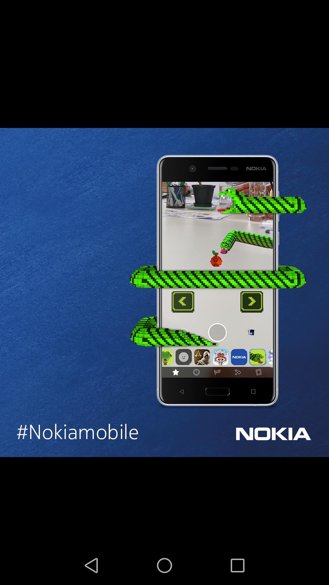 شركة HMD العالمية المطوّرة لأجهزة هواتف نوكيا توفر نسخة محدّثة من لعبة  Snakeالحية الشهيرة لمحبيها عبر منصة تأثيرات الواقع المعزز AR الجديدة لكاميرا فيسبوك