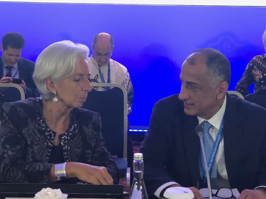 محافظ البنك المركزي المصري يدير جلسة اجتماع محافظي المجموعة الاستشارية الإفريقية مع مدير عام صندوق النقد الدولي