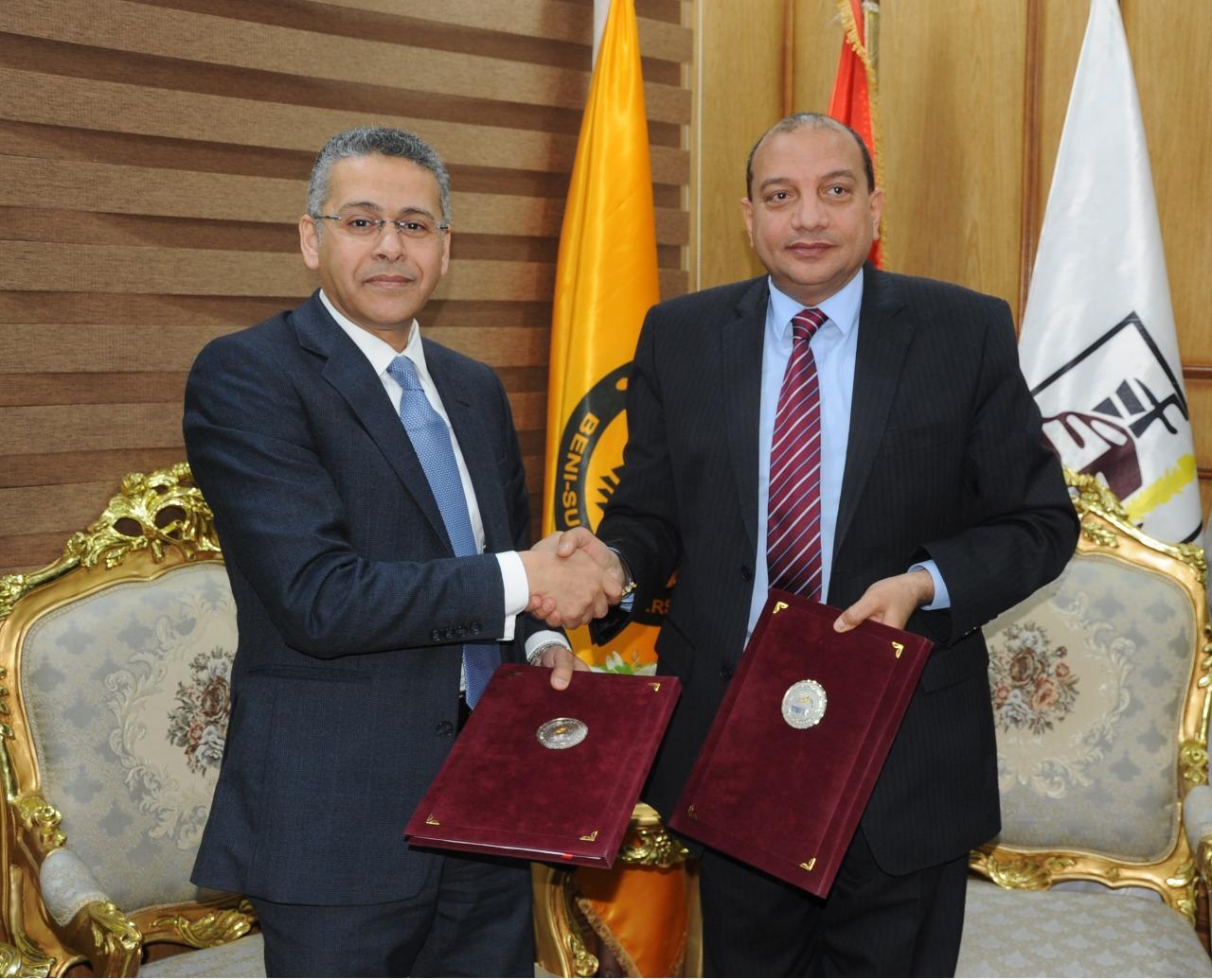 بنك مصر يوقع بروتوكول لتطوير ودعم الكفاءات من طلاب وخريجي جامعة بني سويف بالتعاون مع الجامعة