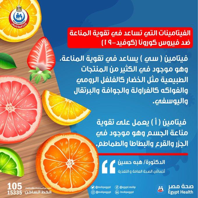 الصحة المصرية تطالب المواطنين بتناول 3 أطعمة للوقاية من فيروس كورونا