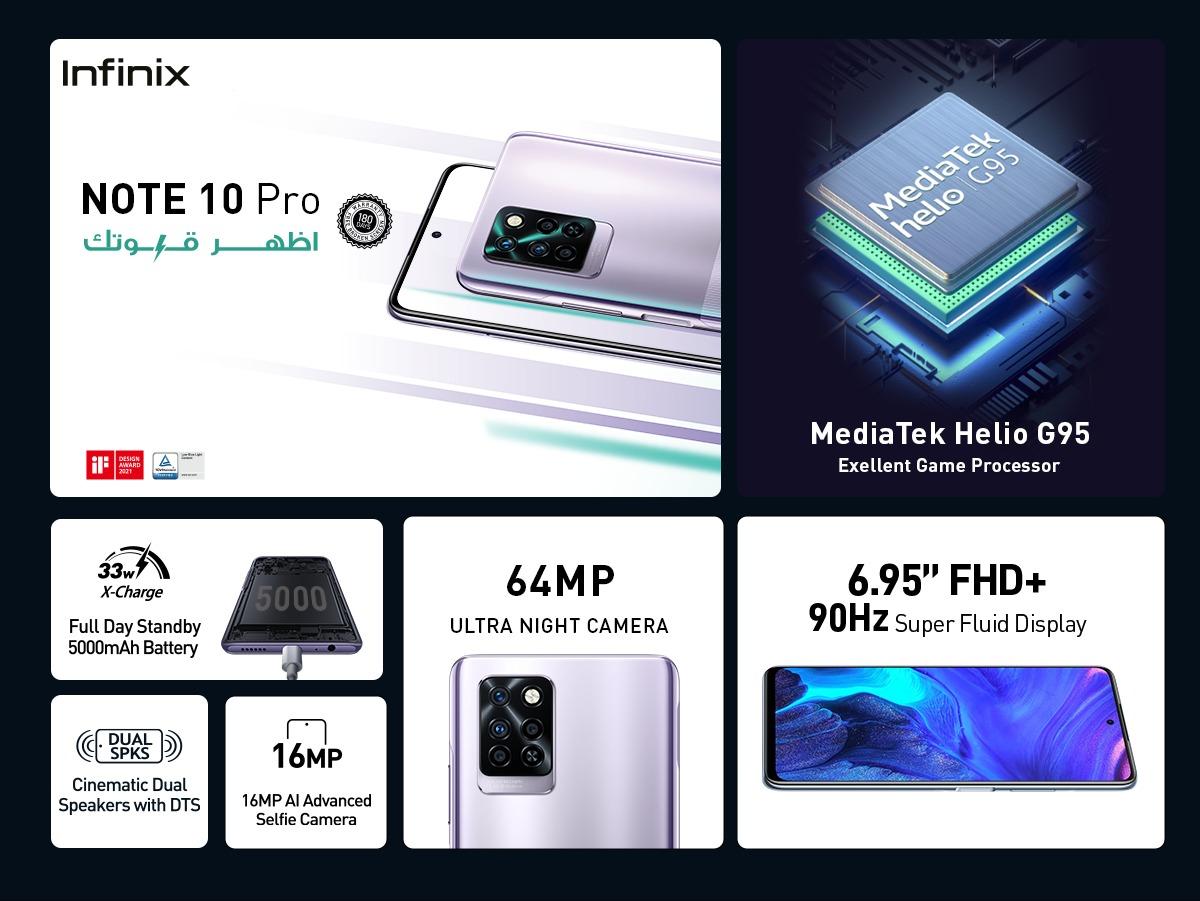 Infinix Note 10 Pro يحتل صدارة الهواتف الأكثر تنافسية..  شاشة  90Hz 6.95 FHD ومعالج Helio G95 وشحن سريع  33 واط